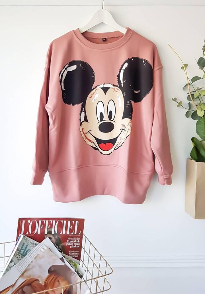 Mickey mouse baskı pudra sweatshırt - 3