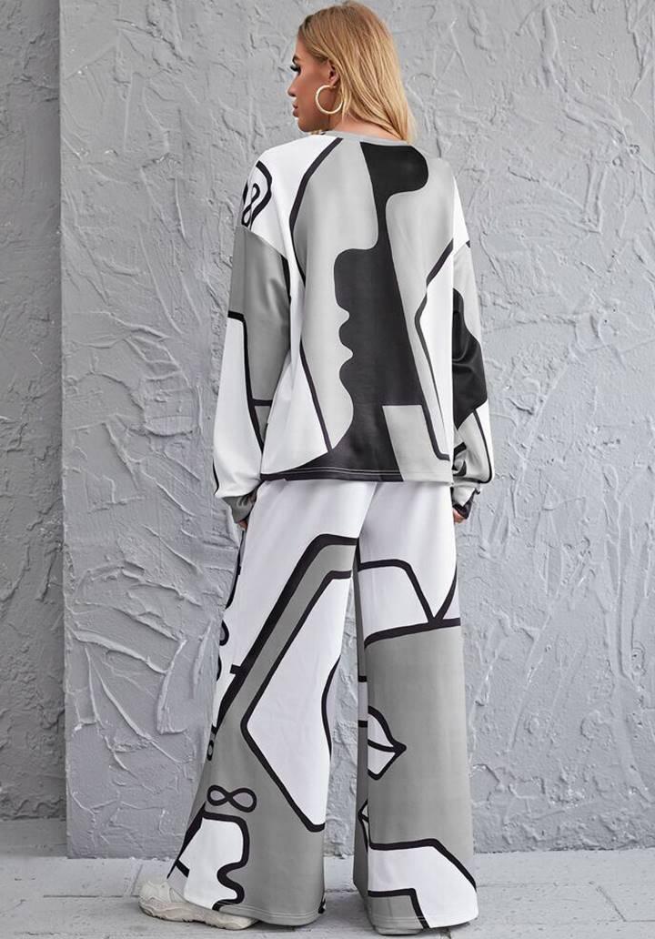 İspanyol Paça Pantolon Bluz Oversize Takım (Gri) - 3