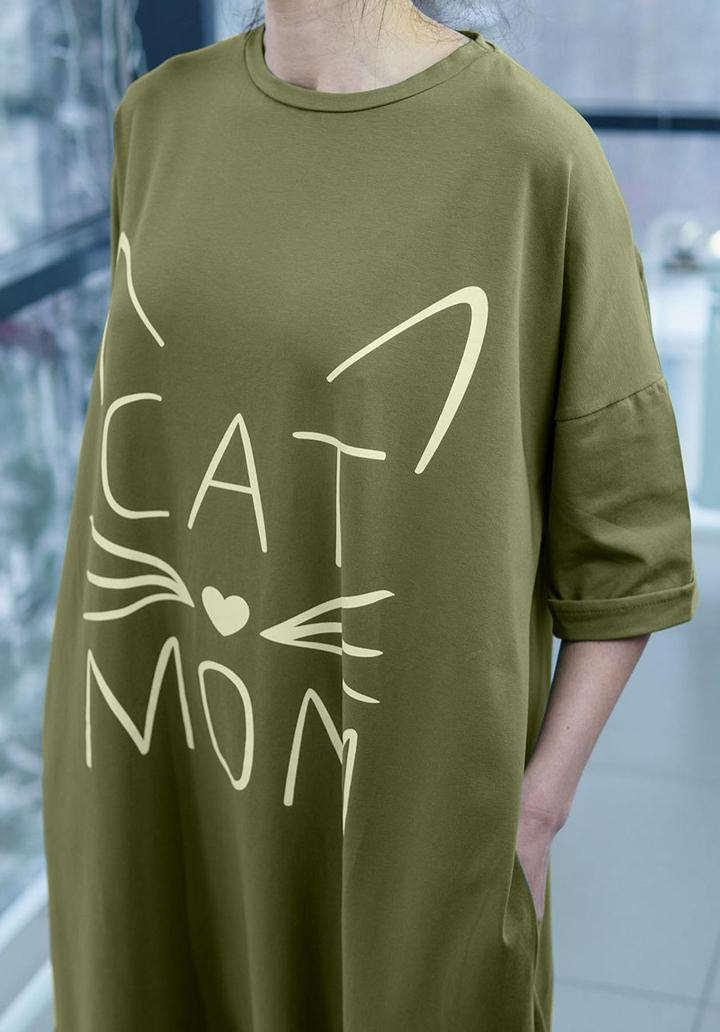 Eteği Volanlı Cat Mom Baskı Midi Boy Elbise - 3