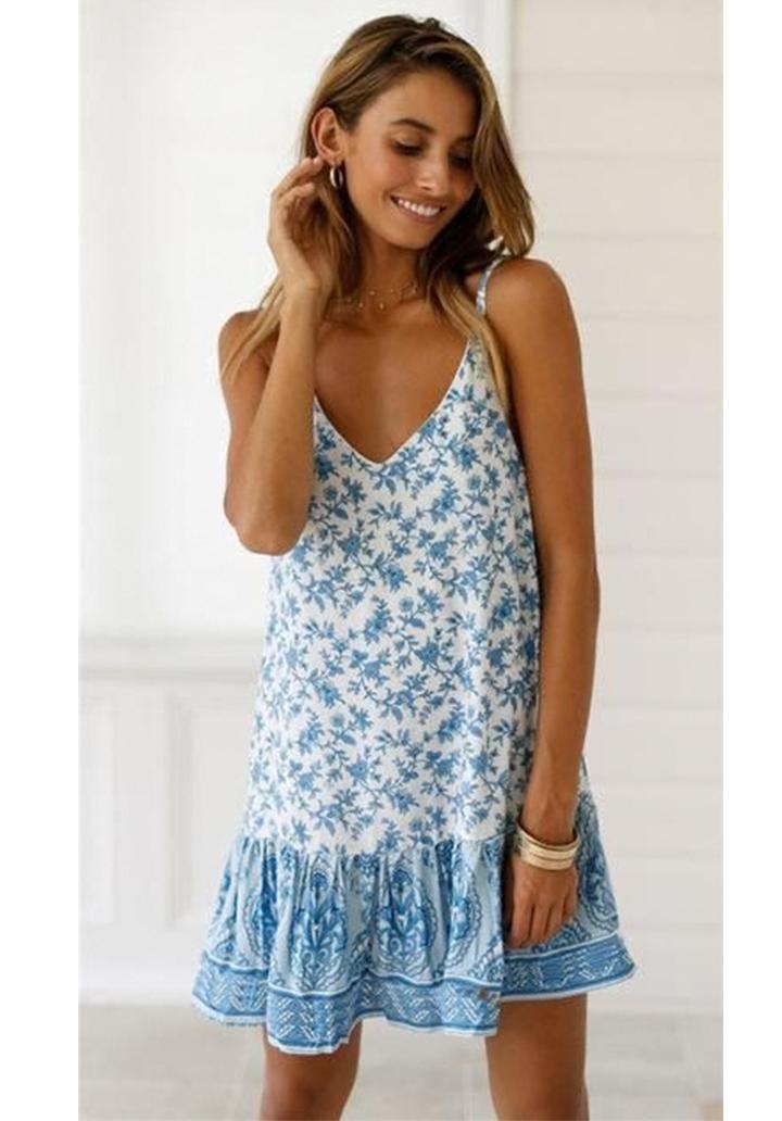 İp Askılı Eteği  Kloş Mavi Elbise - 3