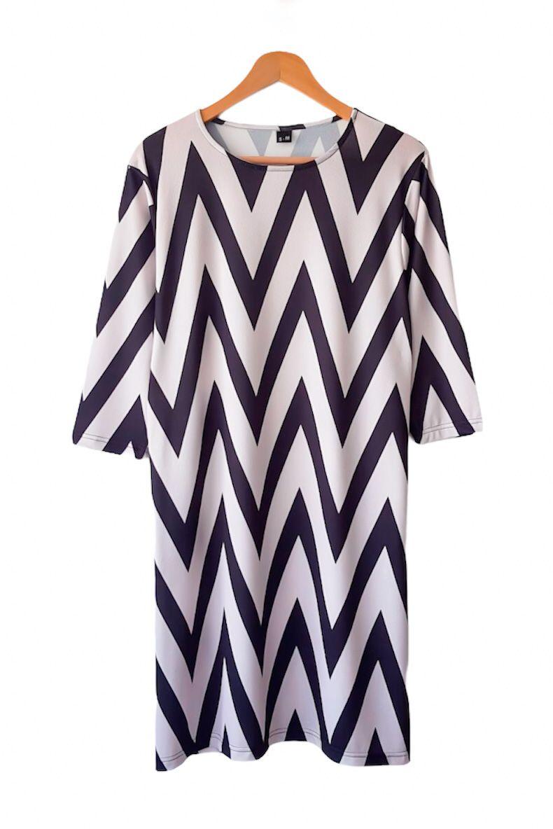Desenli Zara Örme Crep Elbise - 3