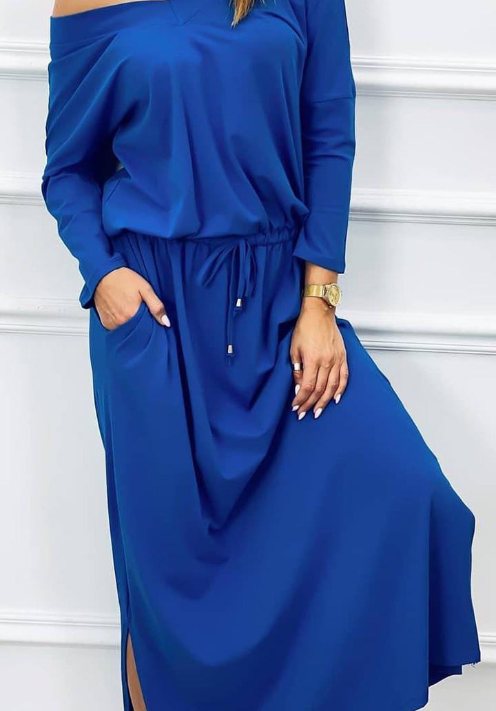 V Yaka Süprem Elbise (Sax) - 3