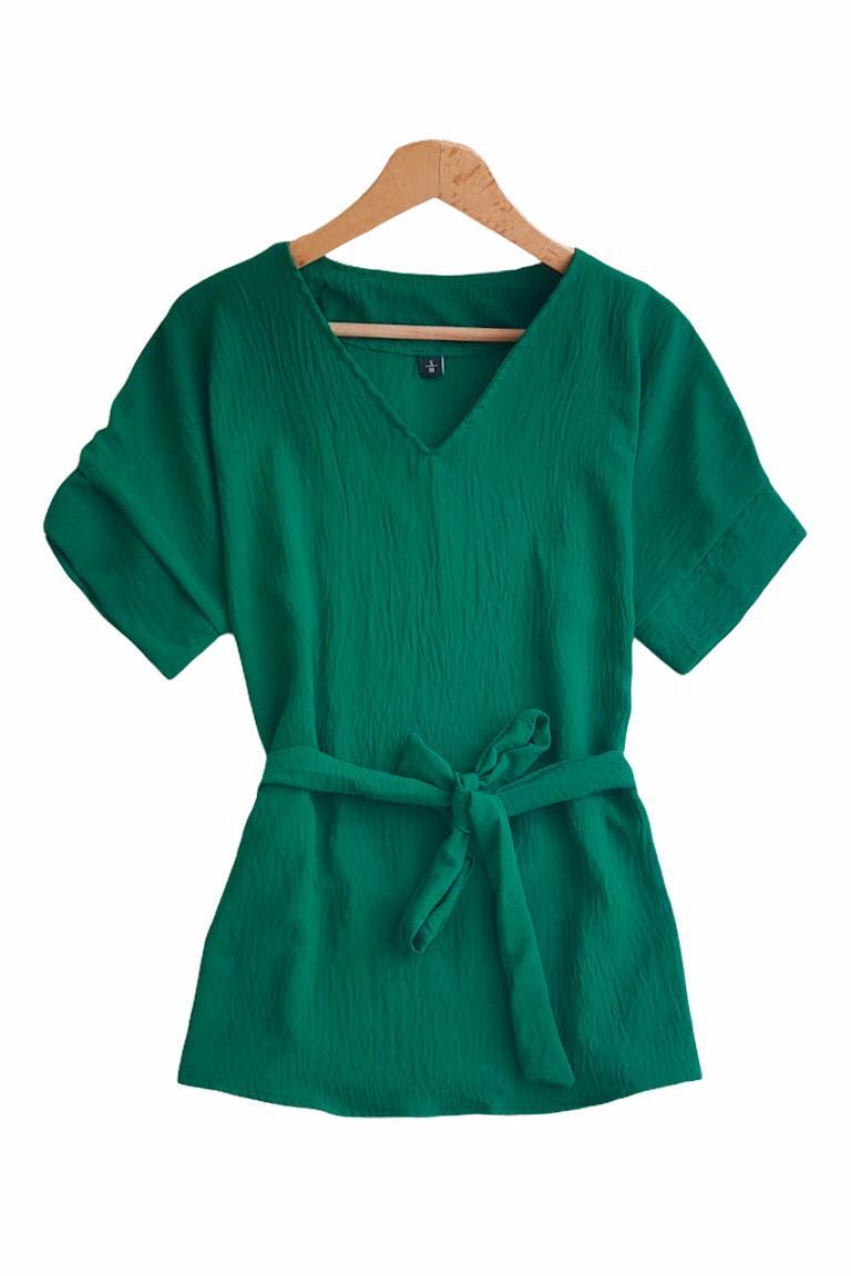 Duble Kol V Yaka Airobin Bluz (Yeşil) - 3