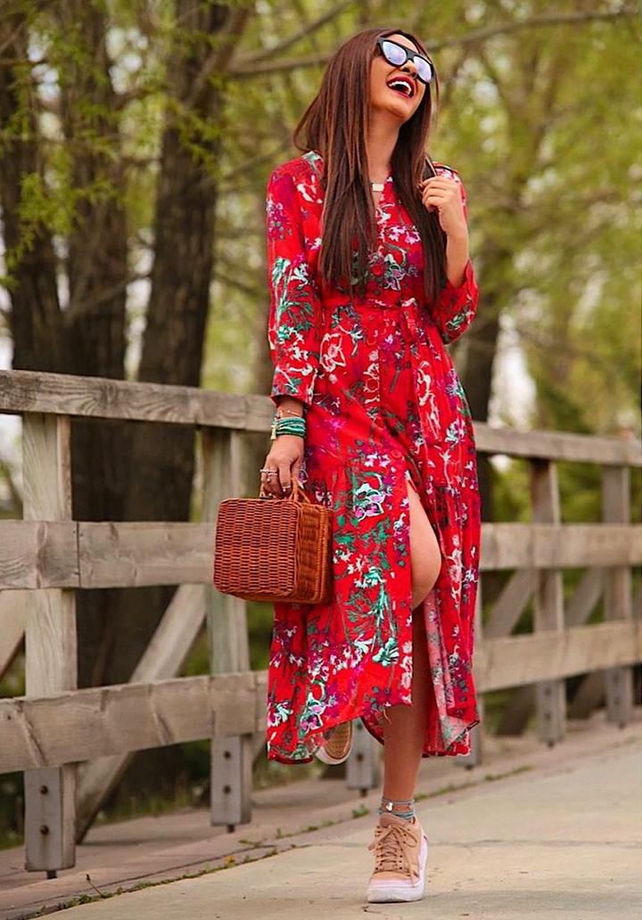 Yeni Sezon Kırmızı Gömlek Elbise - 3