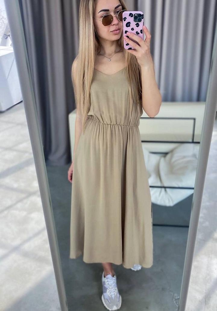 Askı Detay Beli Lastikli Midi Boy Elbise (Vizon) - 3