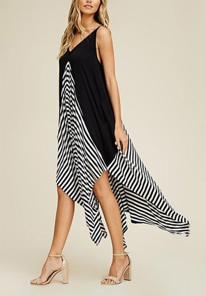 İp Askılı Siyah Garnili Asimetrik Kesim Elbise - 3