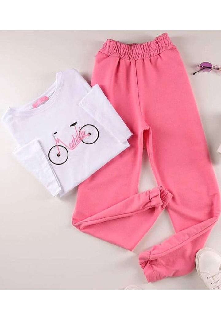 Mathilde Bisiklet Baskılı Tshırt Pantolon İkili Takım - 3