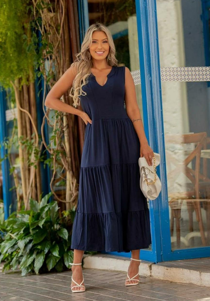 Yaka Detay Kolsuz Süprem Elbise (Lacivert) - 3