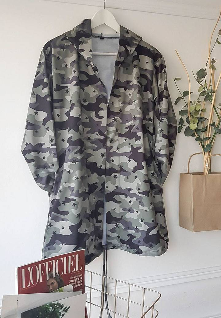 Kapşonlu kamuflaj desen iki iplik ceket - 4
