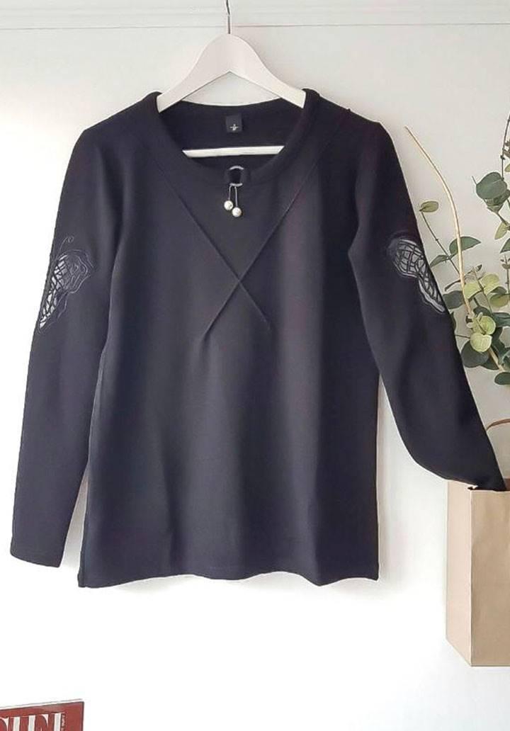 Kolları kelebek nakış işleme inci aksesuarlı bluz(siyah) - 4