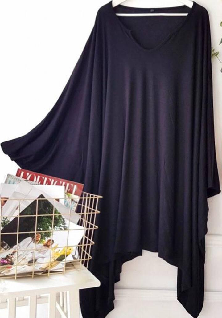 Ön arka V yaka yarasa kol salaş elbise(siyah) - 4