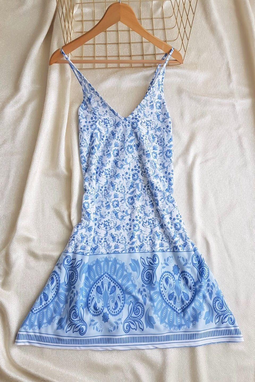 İp Askılı Eteği  Kloş Mavi Elbise - 4