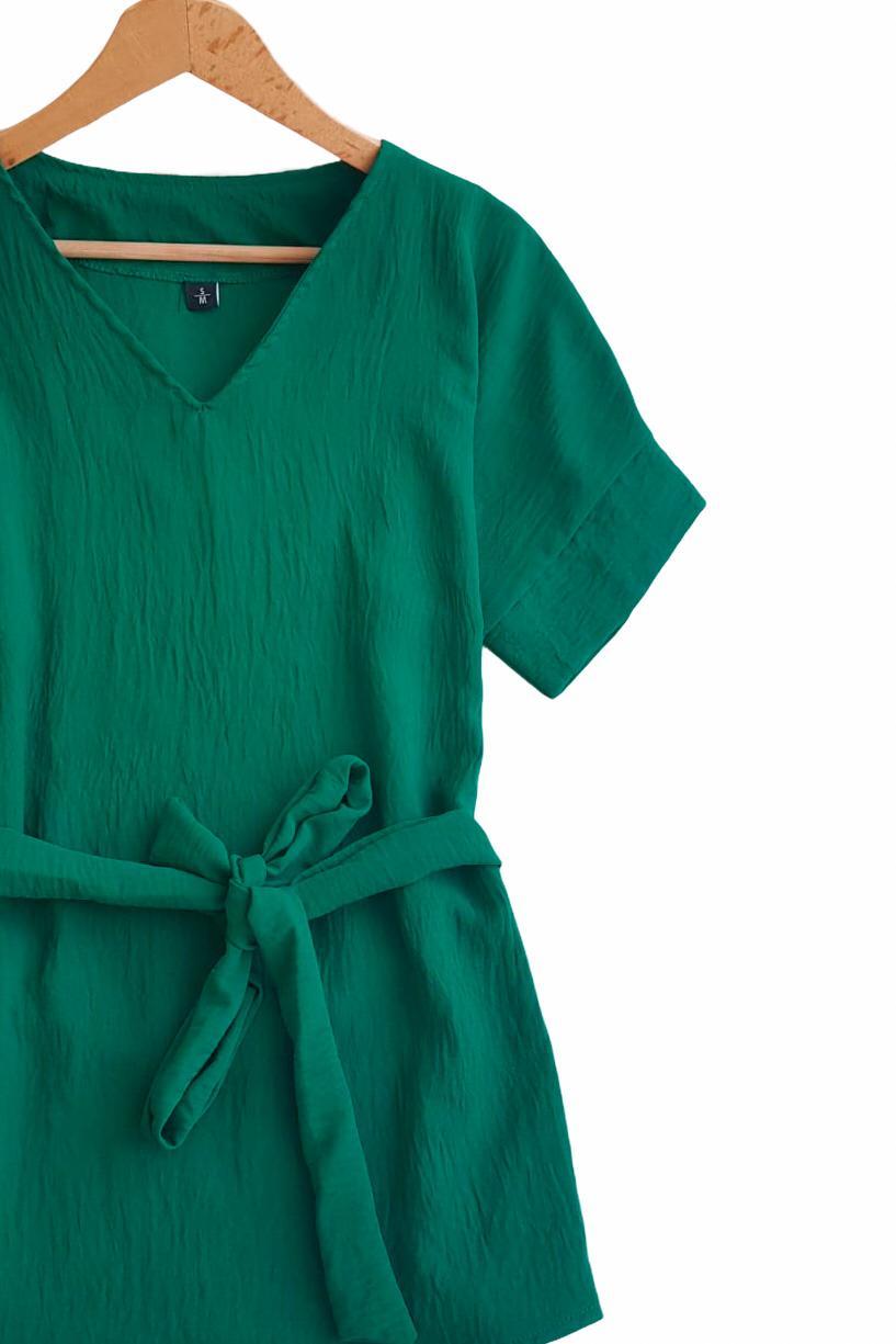 Duble Kol V Yaka Airobin Bluz (Yeşil) - 4