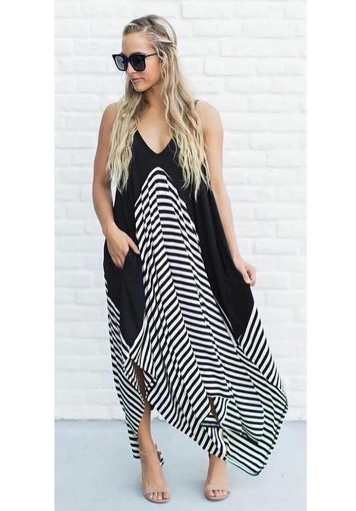 İp Askılı Siyah Garnili Asimetrik Kesim Elbise - 4