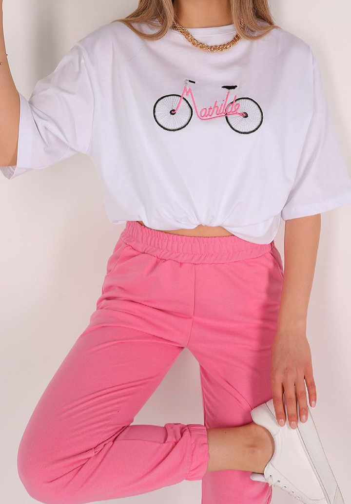 Mathilde Bisiklet Baskılı Tshırt Pantolon İkili Takım - 4